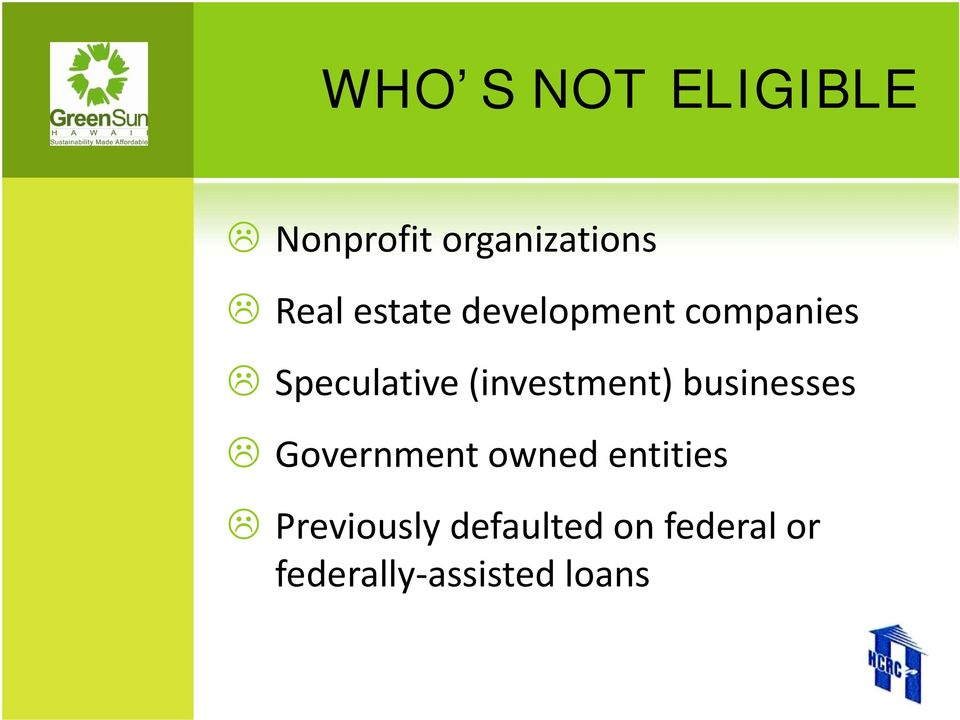 (investment) businesses Government owned entities
