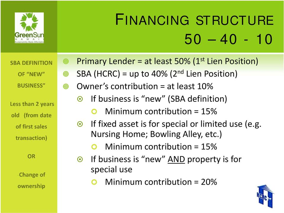 contribution = 15% If fixed asset is for special or limited use (e.g. Nursing Home; Bowling Alley, etc.