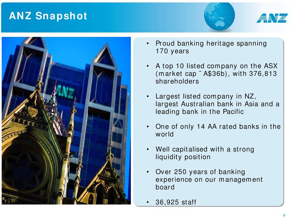 and a leading bank in the Pacific One of only 14 AA rated banks in the world Well capitalised with