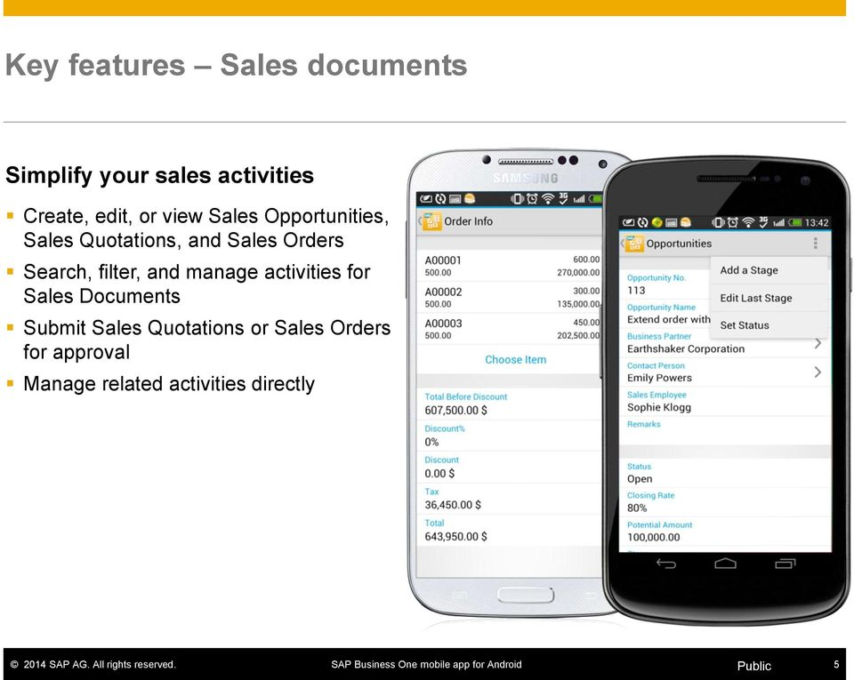 Search, filter, and manage activities for Sales Documents Submit Sales