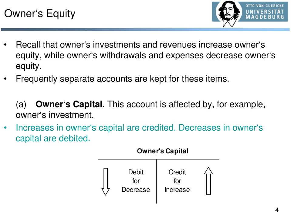 (a) Owner s Capital. This account is affected by, for example, owner s investment.