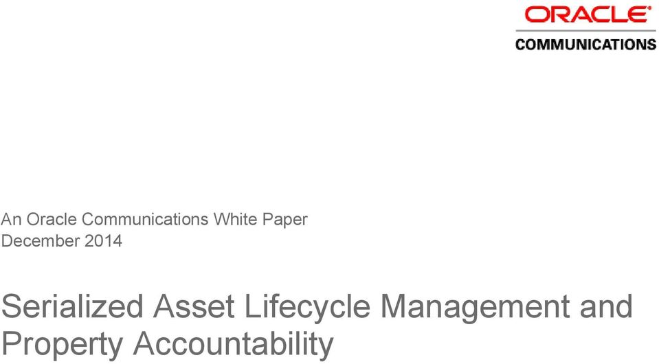Serialized Asset Lifecycle