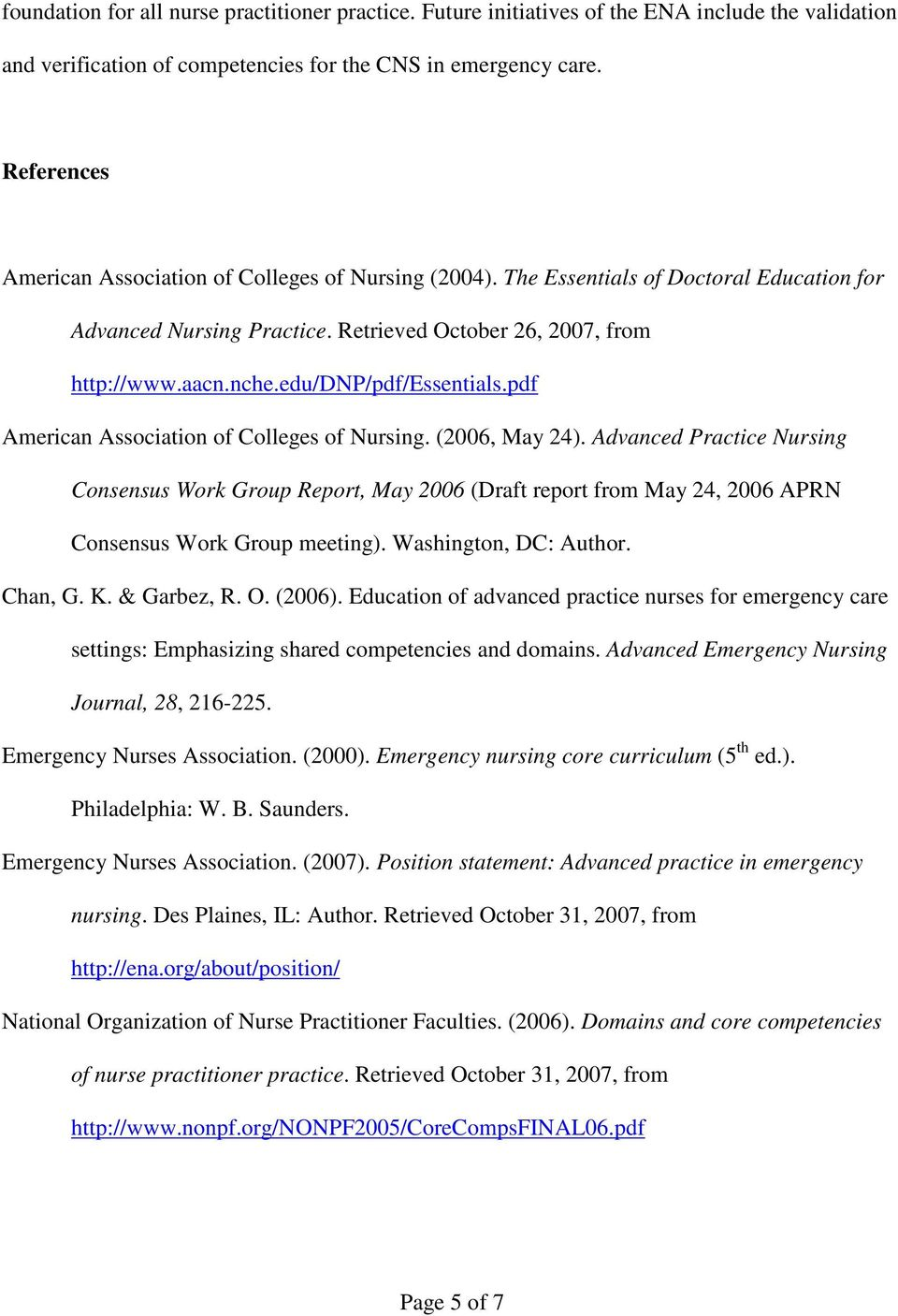 edu/dnp/pdf/essentials.pdf American Association of Colleges of Nursing. (2006, May 24).