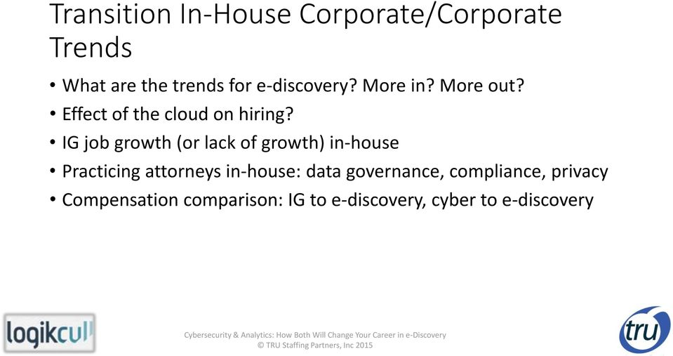 IG job growth (or lack of growth) in-house Practicing attorneys in-house: