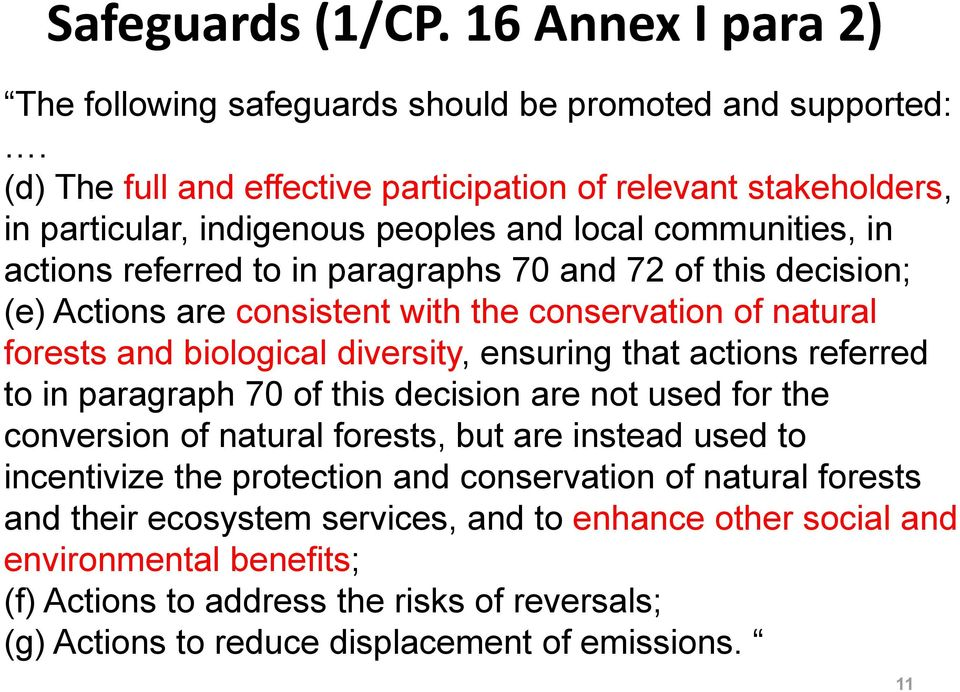 Actions are consistent with the conservation of natural forests and biological diversity, ensuring that actions referred to in paragraph 70 of this decision are not used for the conversion of