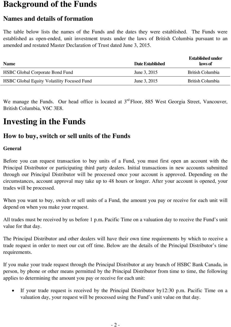Name Date Established Established under laws of HSBC Global Corporate Bond Fund June 3, 2015 British Columbia HSBC Global Equity Volatility Focused Fund June 3, 2015 British Columbia We manage the