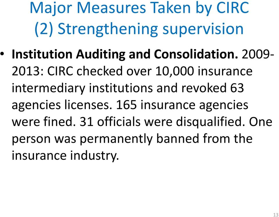 2009-2013: CIRC checked over 10,000 insurance intermediary institutions and revoked