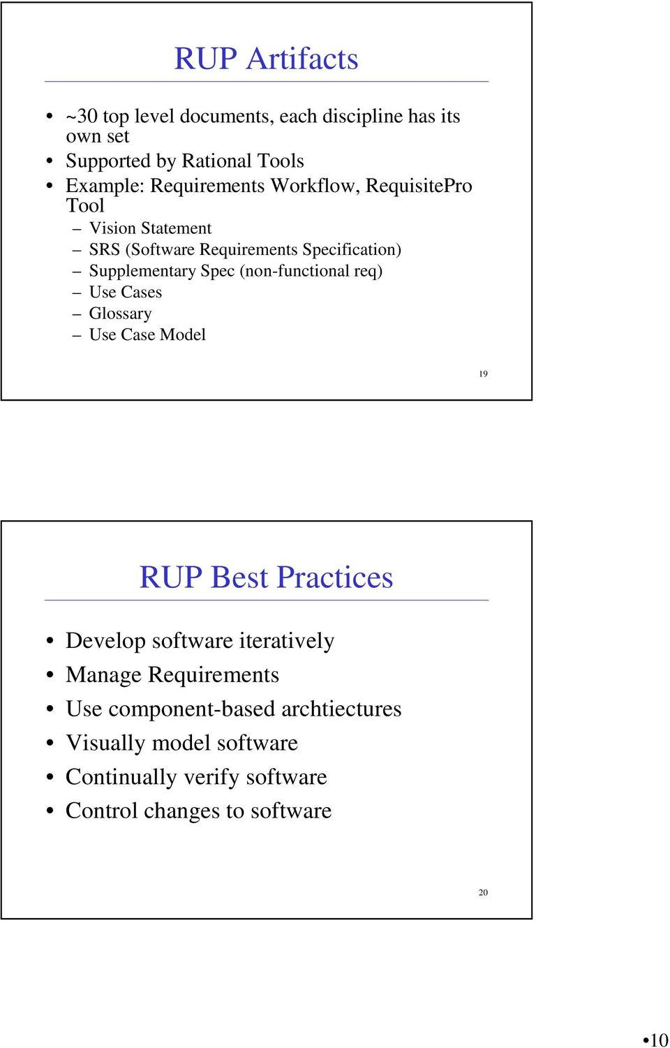 Spec (non-functional req) Use Cases Glossary Use Case Model 19 RUP Best Practices Develop software iteratively Manage