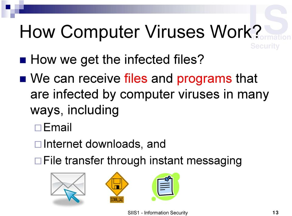 computer viruses in many ways, including Email Internet