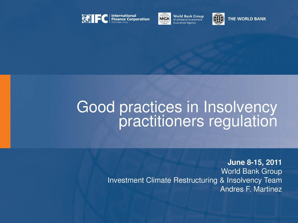 2011 World Bank Group Investment