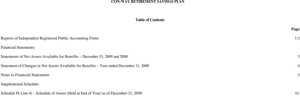 Available for Benefits Year ended December 31, 2009 4 Notes to Financial Statements 5