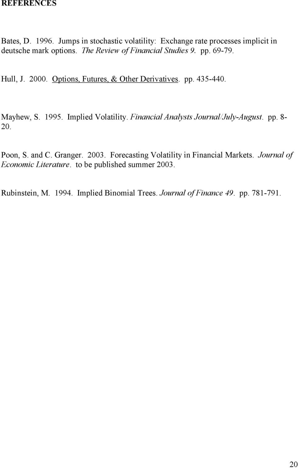Implied Volatility. Financial Analysts Journal/July-August. pp. 8-20. Poon, S. and C. Granger. 2003.