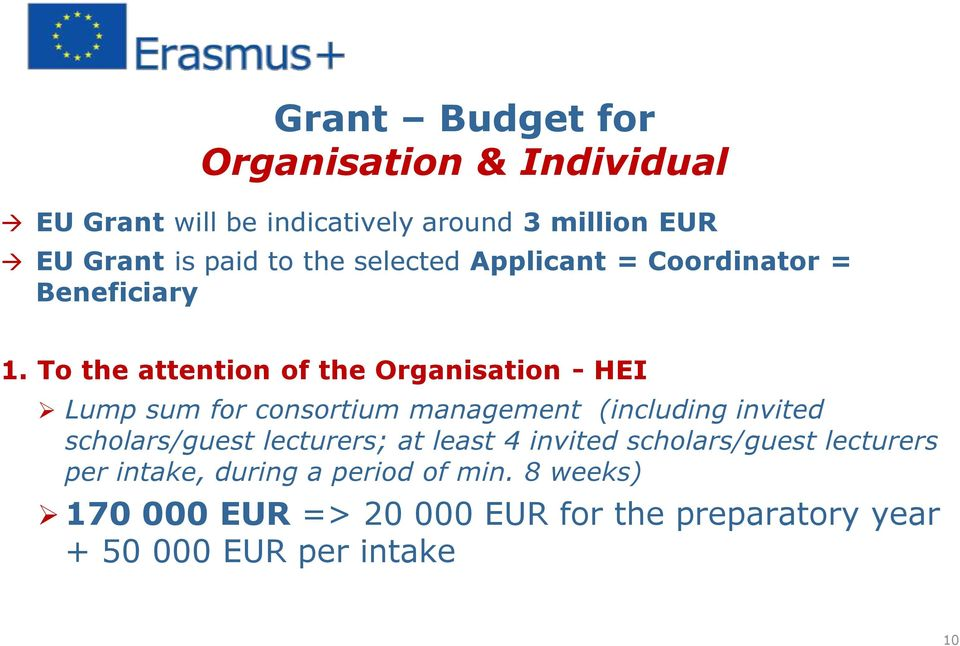To the attention of the Organisation - HEI Lump sum for consortium management (including invited scholars/guest