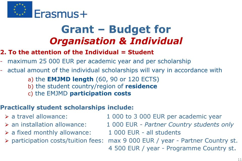 accordance with a) the EMJMD length (60, 90 or 120 ECTS) b) the student country/region of residence c) the EMJMD participation costs Practically student scholarships