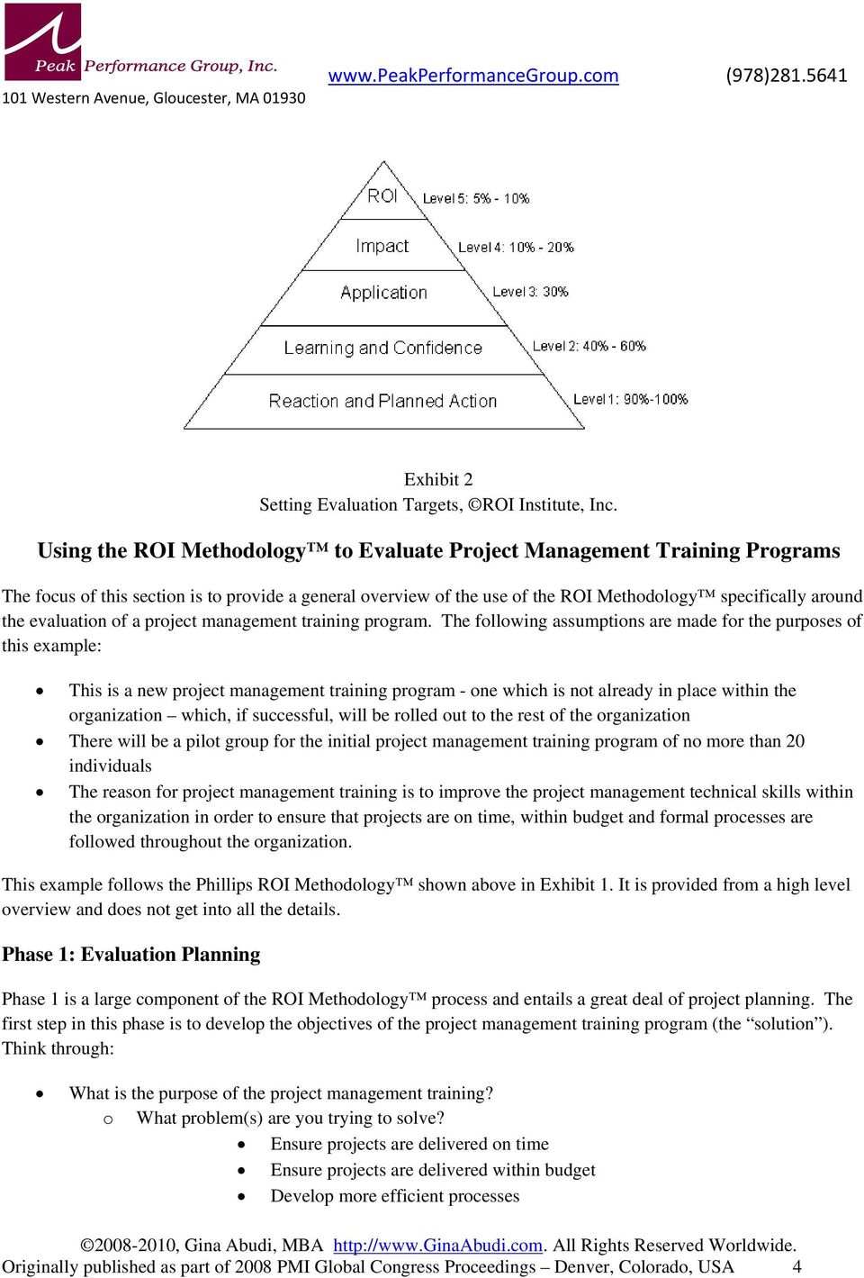 evaluation of a project management training program.