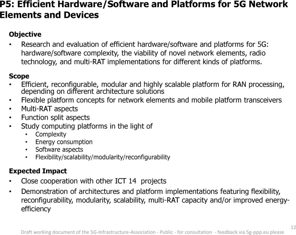 Efficient, reconfigurable, modular and highly scalable platform for RAN processing, depending on different architecture solutions Flexible platform concepts for network elements and mobile platform