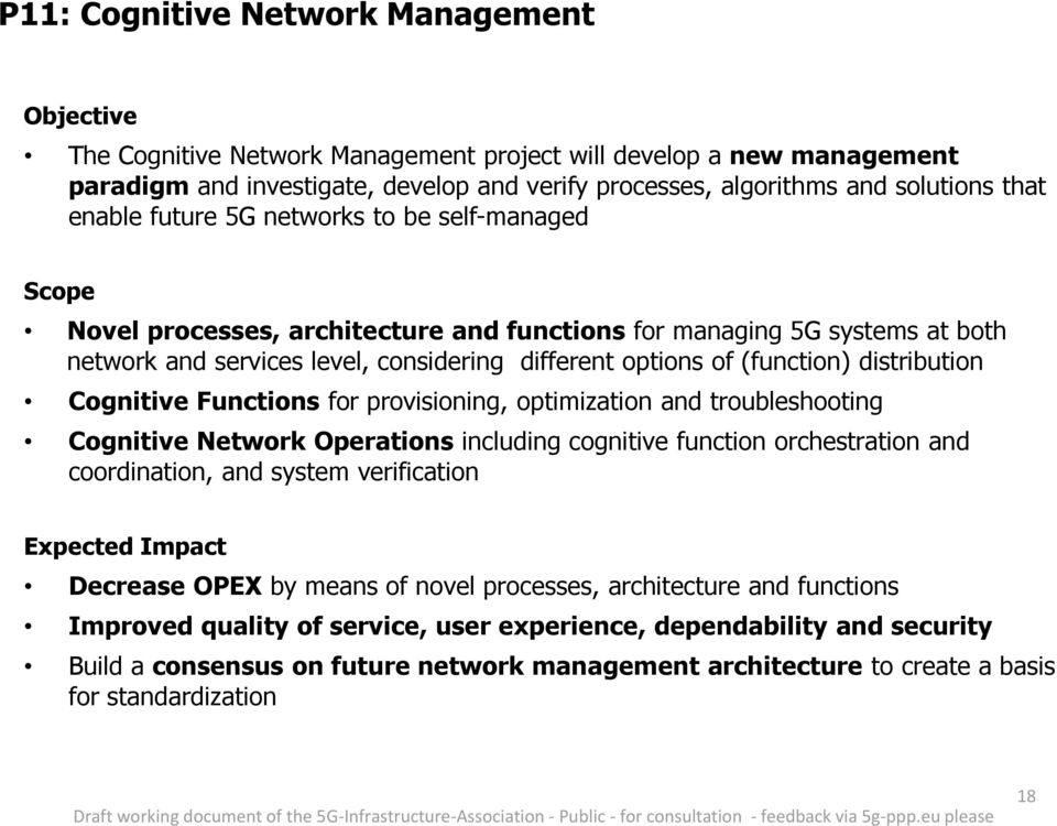 Cognitive Functions for provisioning, optimization and troubleshooting Cognitive Network Operations including cognitive function orchestration and coordination, and system verification Decrease OPEX