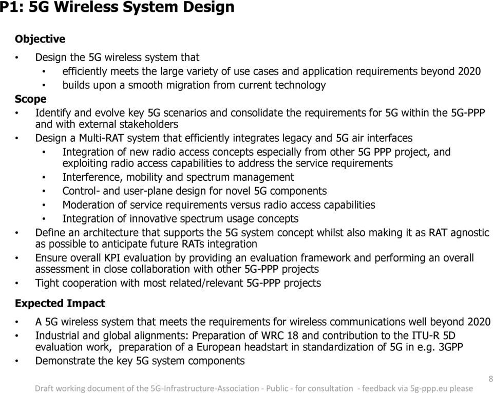 and 5G air interfaces Integration of new radio access concepts especially from other 5G PPP project, and exploiting radio access capabilities to address the service requirements Interference,