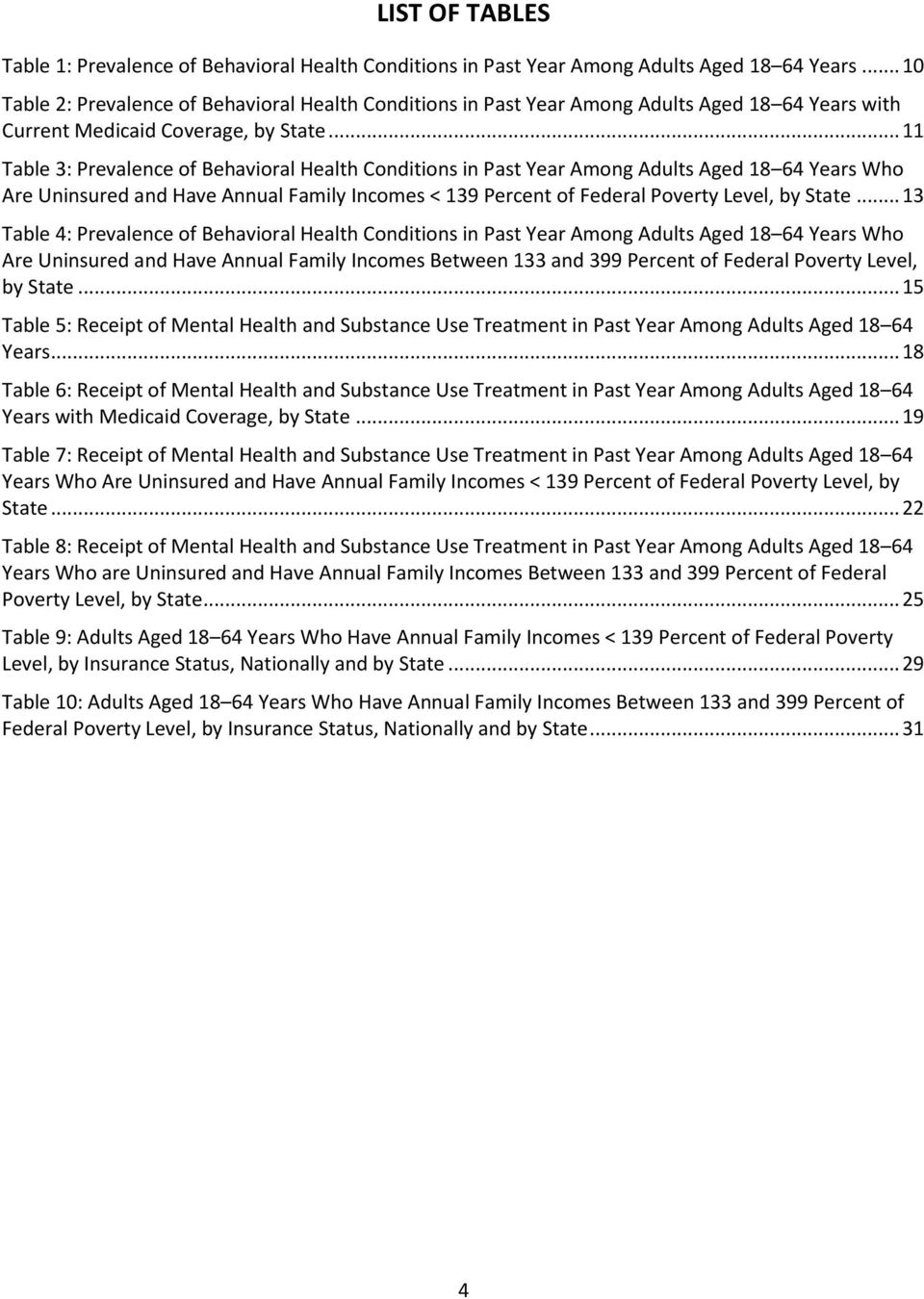 .. 11 Table 3: Prevalence of Behavioral Health Conditions in Past Year Among Adults Aged 18 64 Years Who Are Uninsured and Have Annual Family Incomes < 139 Percent of Federal Poverty Level, by State.