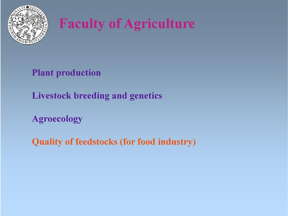 and genetics Agroecology