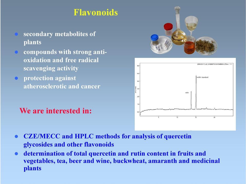 HPLC methods for analysis of quercetin glycosides and other flavonoids determination of total