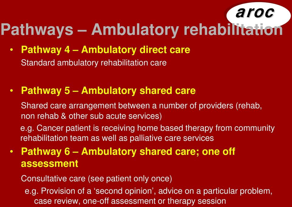ment between a number of providers (rehab, non rehab & other sub acute services) e.g.