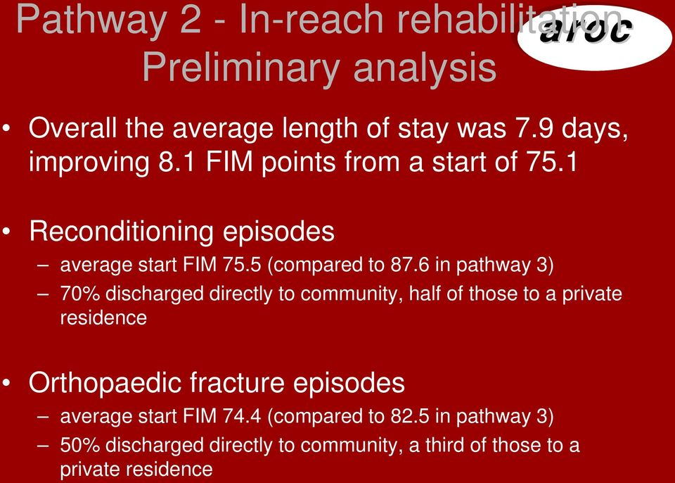 6 in pathway 3) 70% discharged directly to community, half of those to a private residence Orthopaedic fracture