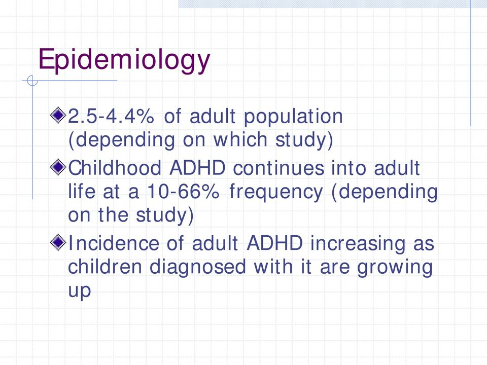 Childhood ADHD continues into adult life at a 10-66%