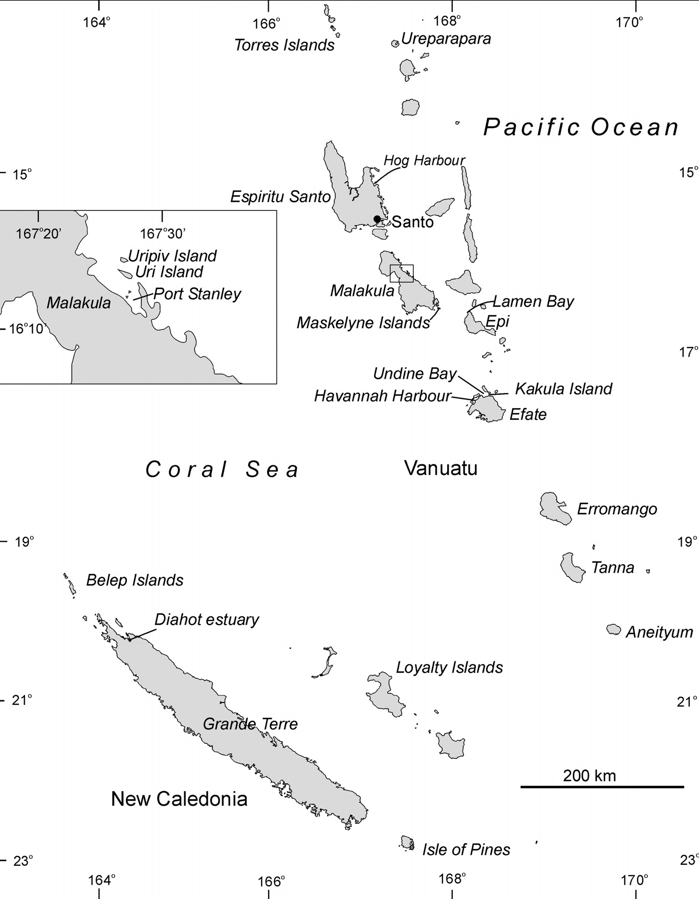 Figure 5.6 The New Caledonia and Vanuatu region showing place names mentioned in the text. fringing reefs.