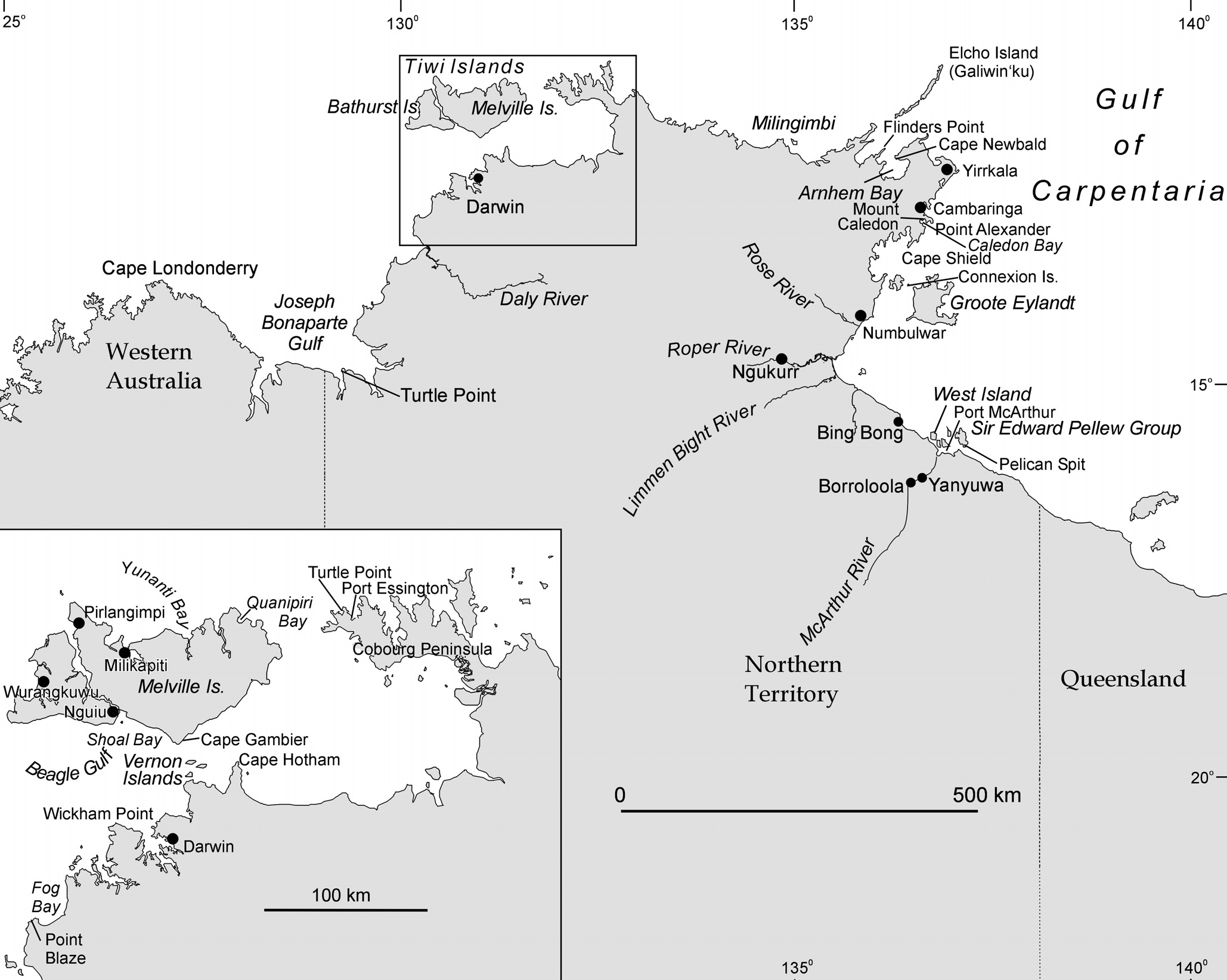 Figure 6.2 The Northern Territory Coast of the Gulf of Carpentaria showing place names mentioned in the text.