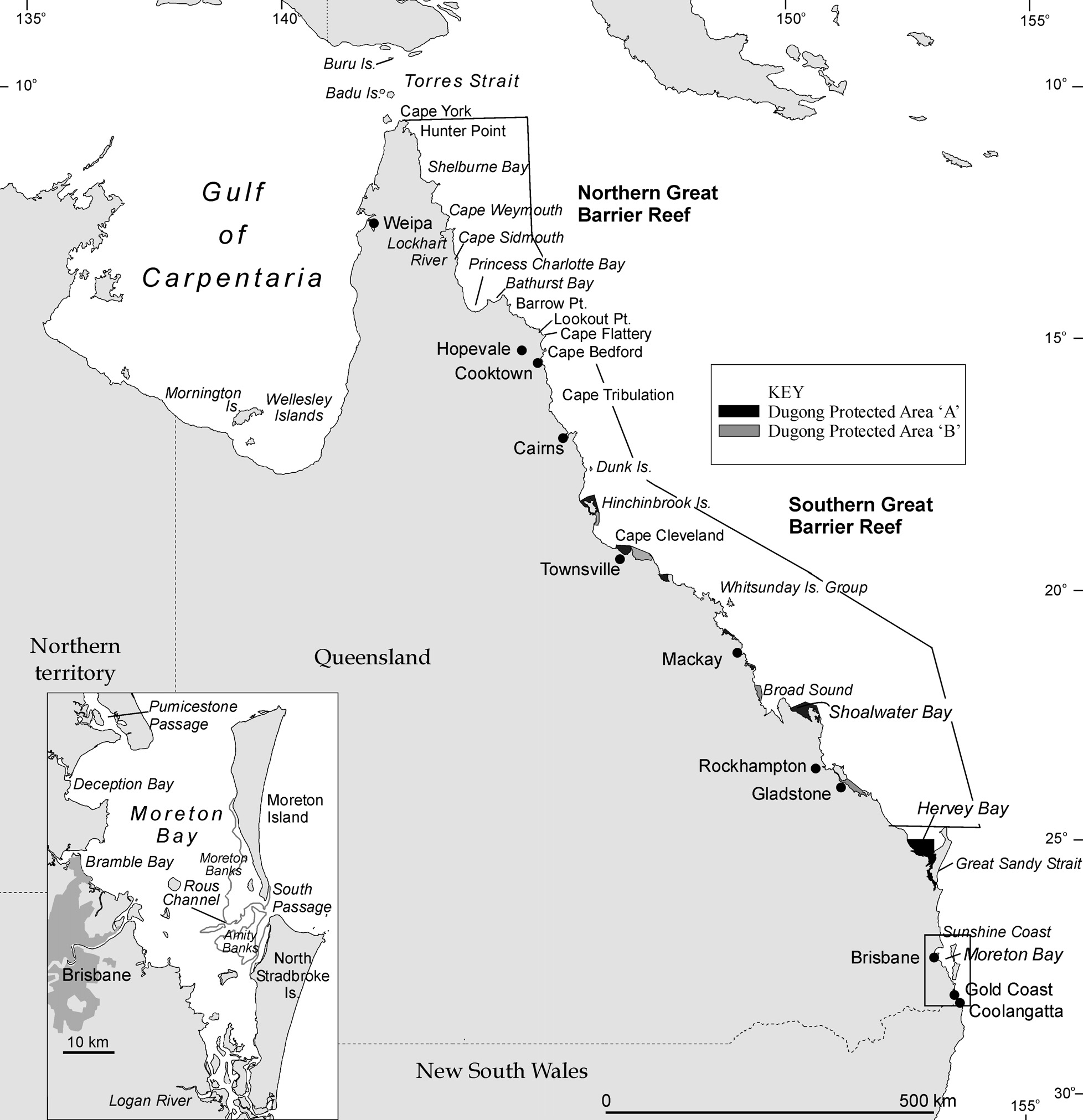 Figure 6.6 The urbanised coast of Queensland (from Cooktown south on this map) showing place names mentioned in the text and the Dugong Protection Areas.