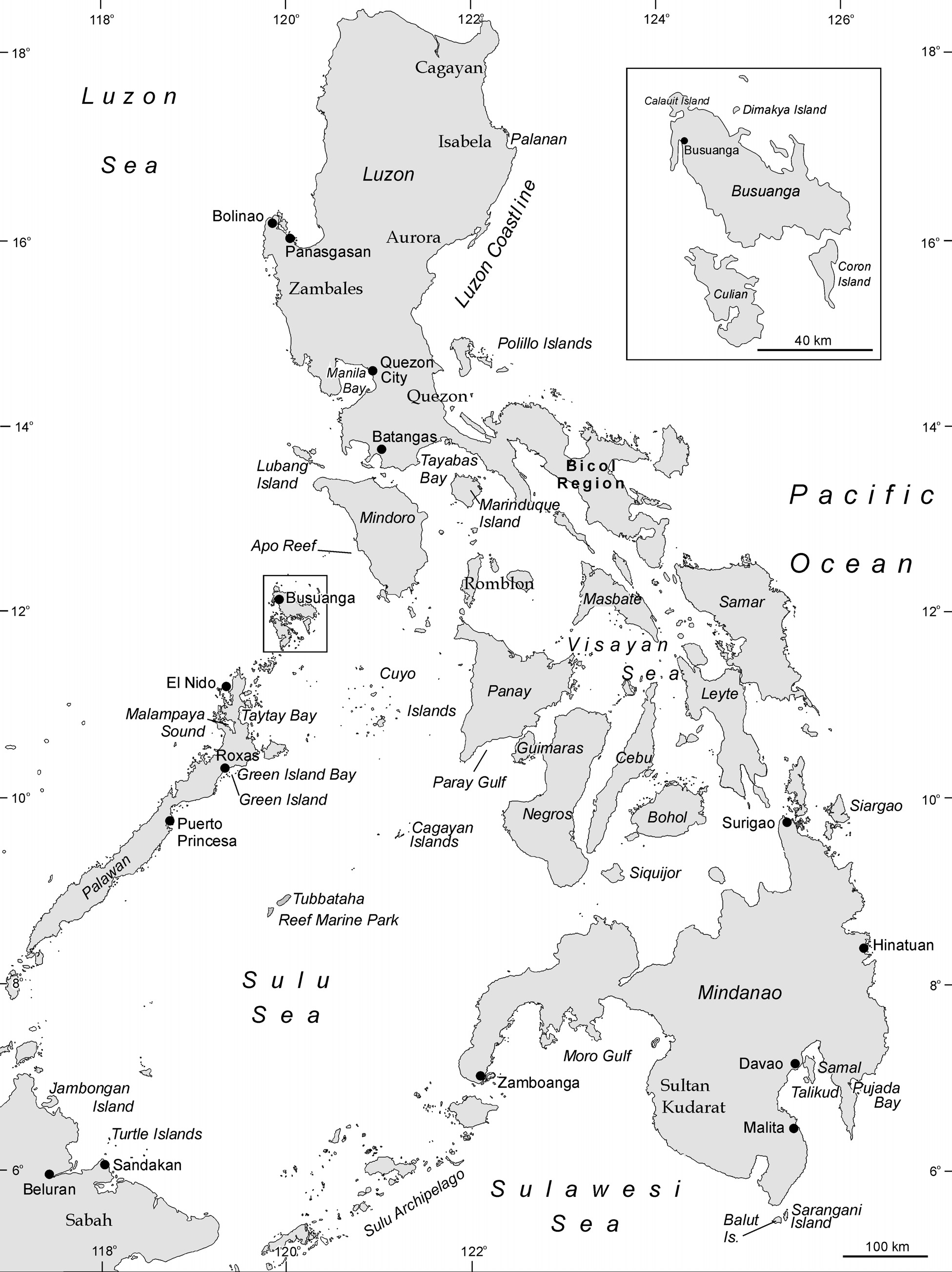 Figure 4.3 The Philippines showing place names mentioned in the text.