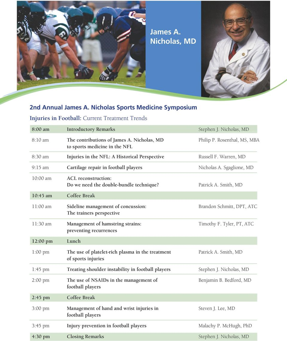 Warren, MD 9:15 am Cartilage repair in football players Nicholas A. Sgaglione, MD 10:00 am ACL reconstruction: Do we need the double-bundle technique? Patrick A.