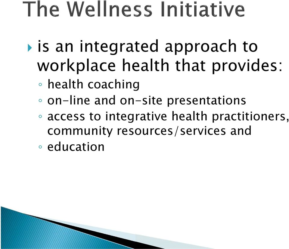 on-site presentations access to integrative