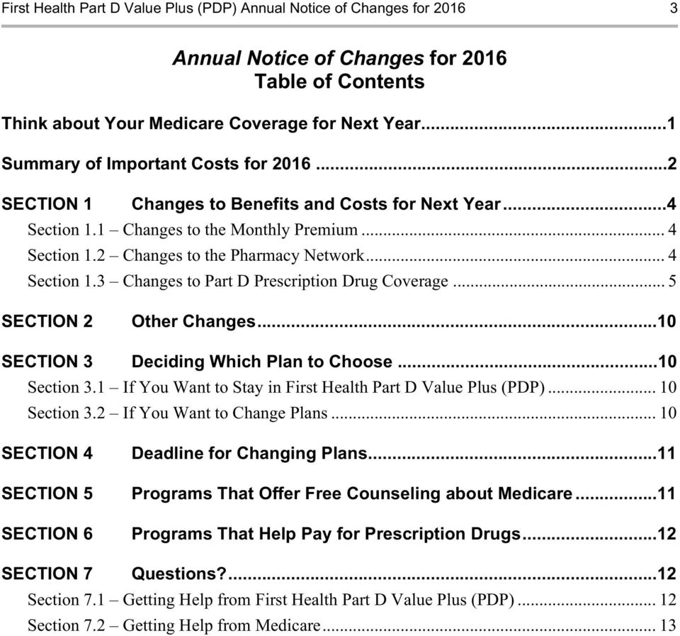 .. 4 Section 1.3 Changes to Part D Prescription Drug Coverage... 5 SECTION 2 Other Changes...10 SECTION 3 Deciding Which Plan to Choose...10 Section 3.