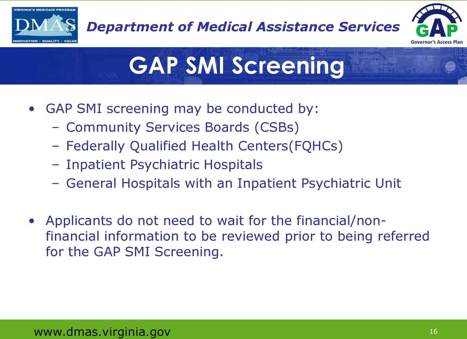 with an Inpatient Psychiatric Unit Applicants do not need to wait for the