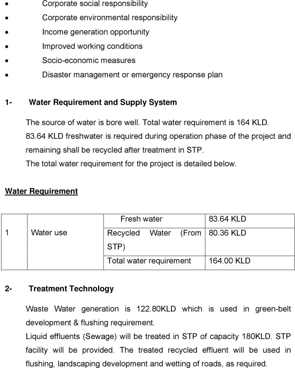 64 KLD freshwater is required during operation phase of the project and remaining shall be recycled after treatment in STP. The total water requirement for the project is detailed below.
