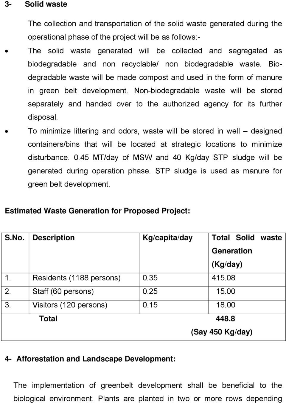 Non-biodegradable waste will be stored separately and handed over to the authorized agency for its further disposal.