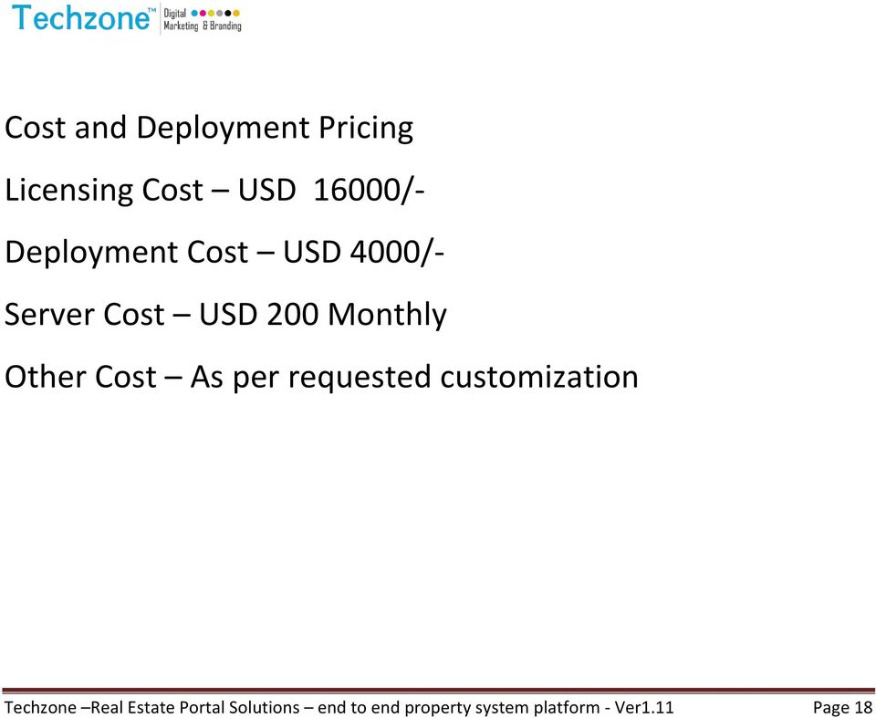 Cost As per requested customization Techzone Real Estate