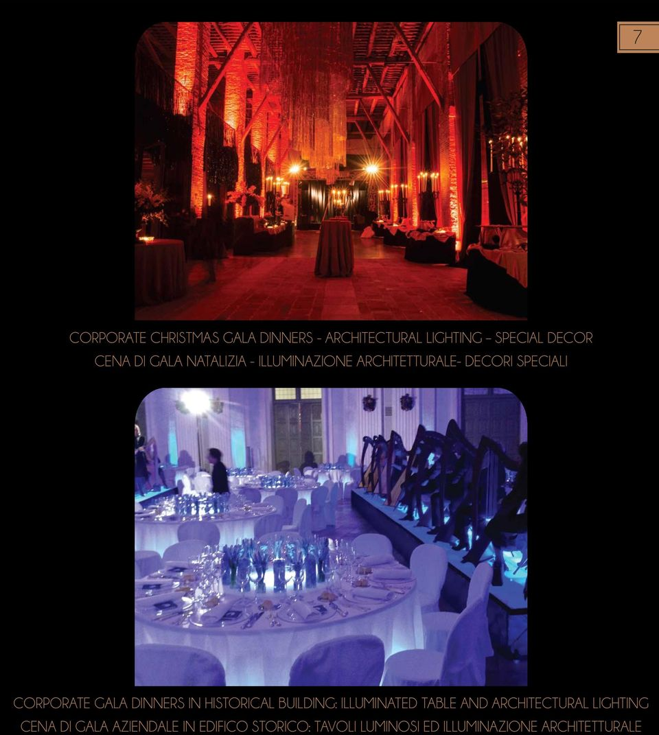 DINNERS IN HISTORICAL BUILDING: ILLUMINATED TABLE AND ARCHITECTURAL LIGHTING CENA