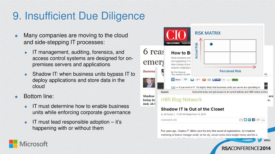 business units bypass IT to deploy applications and store data in the cloud Bottom line: IT must determine how to