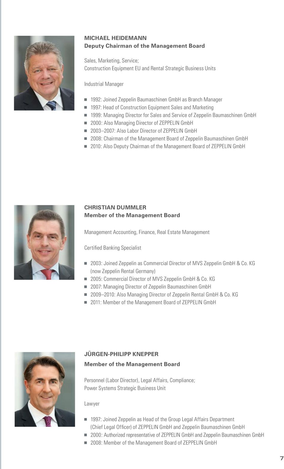 of ZEPPELIN GmbH 2003 2007: Also Labor Director of ZEPPELIN GmbH 2008: Chairman of the Management Board of Zeppelin Baumaschinen GmbH 2010: Also Deputy Chairman of the Management Board of ZEPPELIN