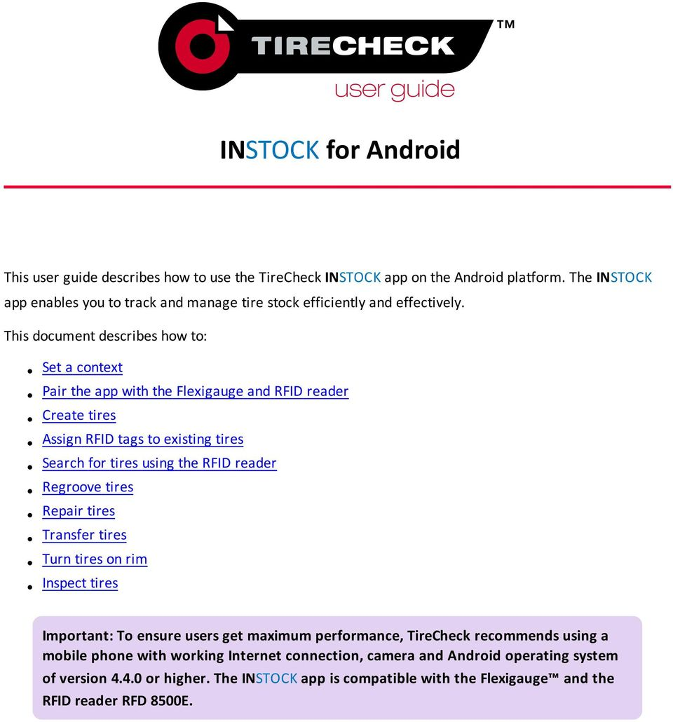 INSTOCK for Android  This document describes how to: - PDF