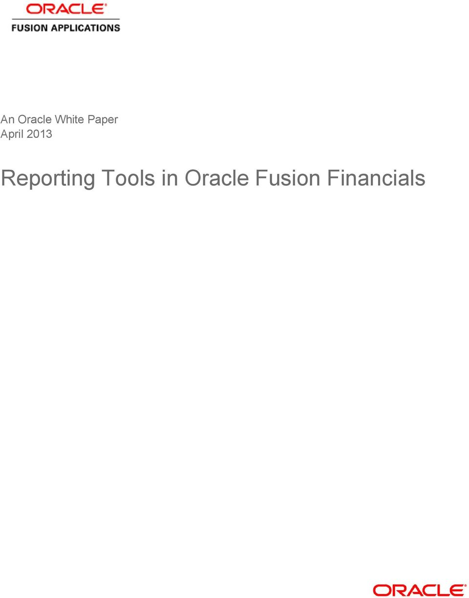 Reporting Tools in