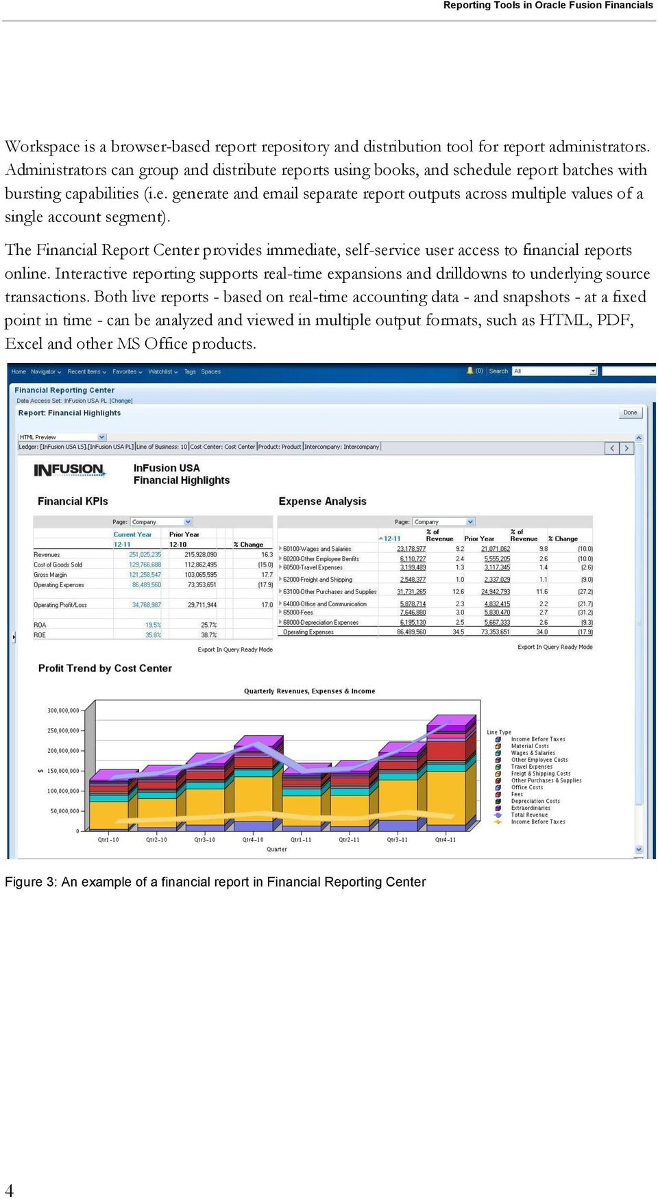 The Financial Report Center provides immediate, self-service user access to financial reports online.