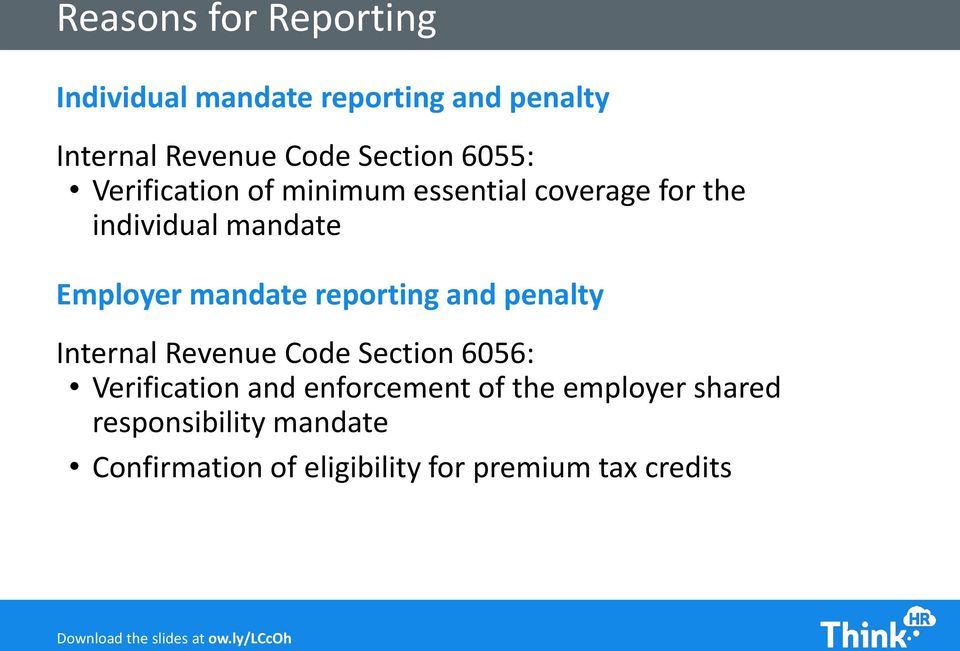 reporting and penalty Internal Revenue Code Section 6056: Verification and enforcement of