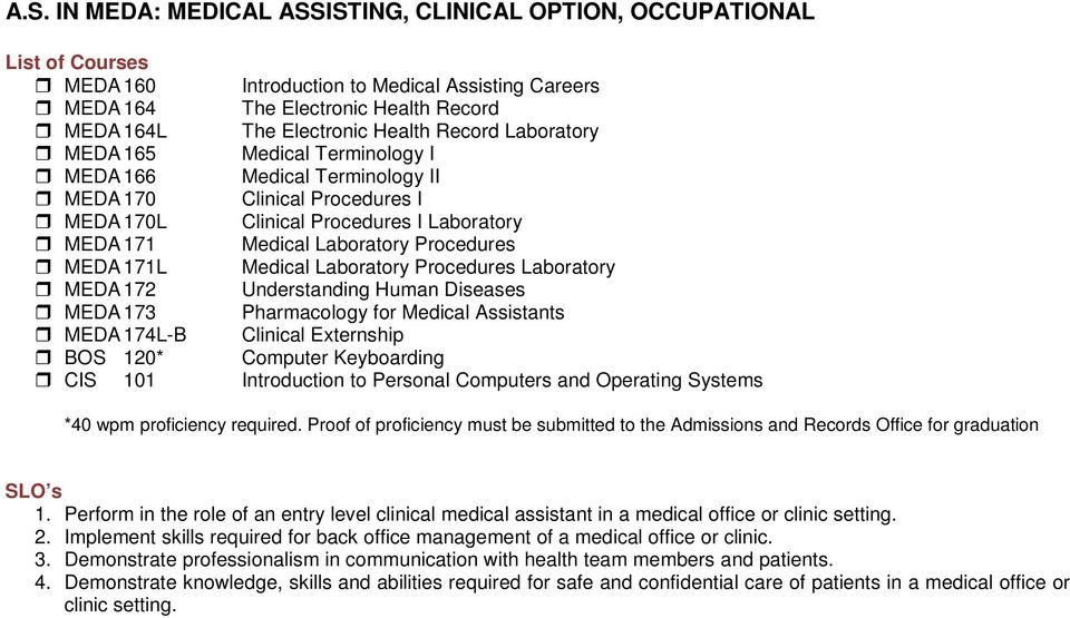 171L Medical Laboratory Procedures Laboratory MEDA 172 Understanding Human Diseases MEDA 173 Pharmacology for Medical Assistants MEDA 174L-B Clinical Externship BOS 120* Computer Keyboarding CIS 101