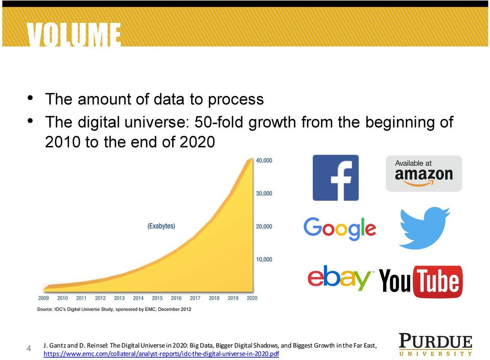 Reinsel: of the digital The Digital universe Universe holding in potential 2020: Big analytic Data, value Bigger is Digital growing, Shadows, only a tiny and Biggest Growth in the Far East, fraction