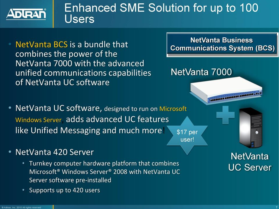 NetVanta UC software NetVanta Business Communications System (BCS) NetVanta 7000 NetVanta UC software, designed to run on Microsoft Windows Server, adds