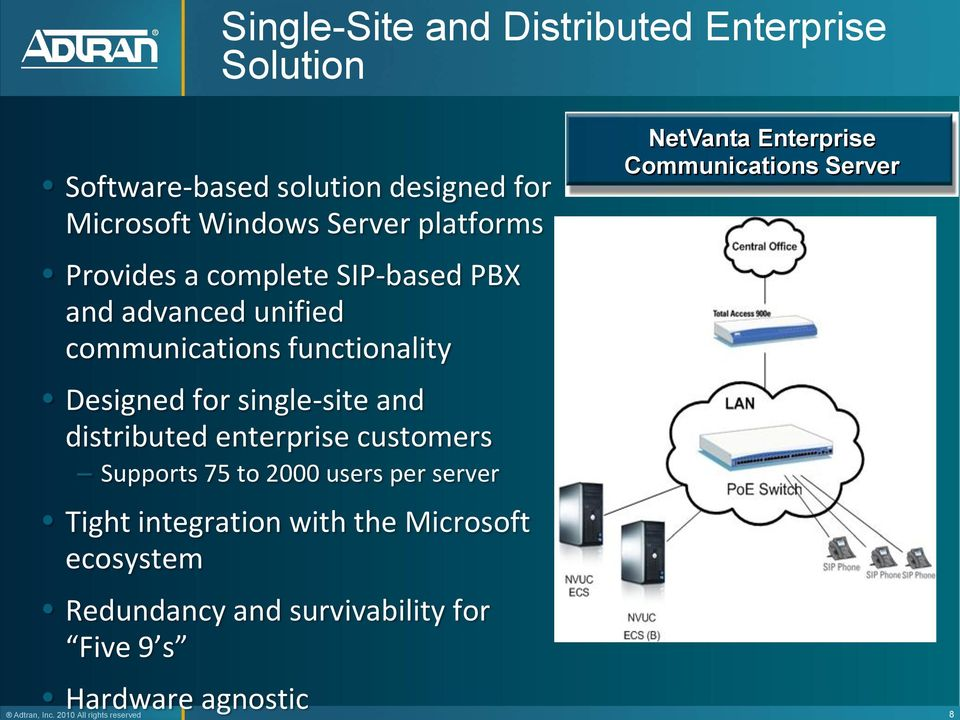 distributed enterprise customers Supports 75 to 2000 users per server Tight integration with the Microsoft ecosystem